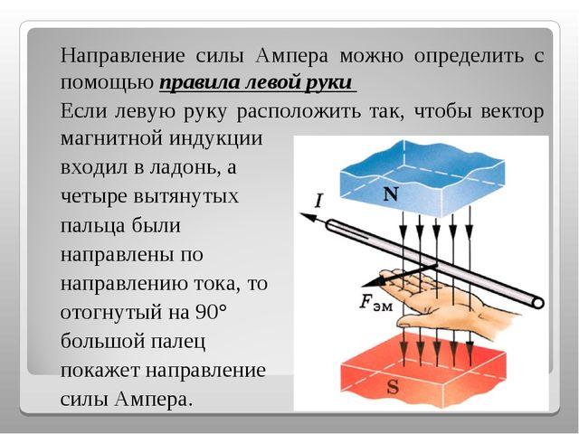 Направление силы Ампера можно определить с помощью правила левой руки Если...