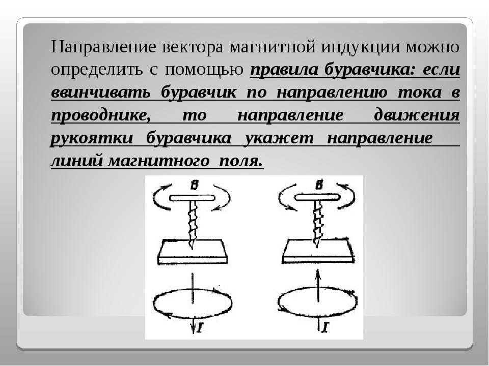 Направление вектора магнитной индукции можно определить с помощью правила бу...
