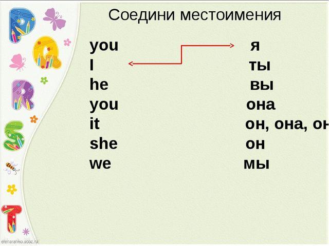 Соедини местоимения you я I ты he вы you она it он, она, оно she он we мы