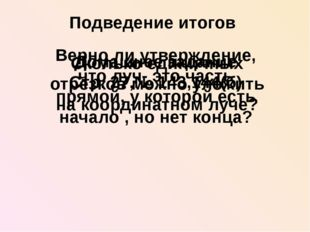 Подведение итогов Верно ли утверждение, что луч- это часть прямой, у которой