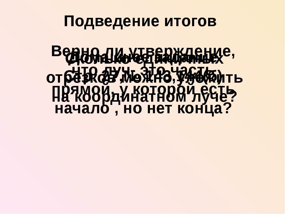 Подведение итогов Верно ли утверждение, что луч- это часть прямой, у которой...