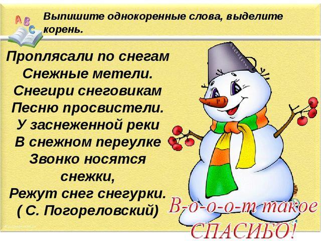 Выпишите однокоренные слова, выделите корень. Проплясали по снегам Снежные ме...