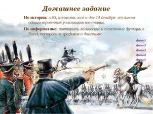 Домашнее задание По истории: п.63, написать эссе о дне 14 декабря от имени од