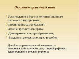 Установление в России конституционного парламентского режима ; Ограничение с