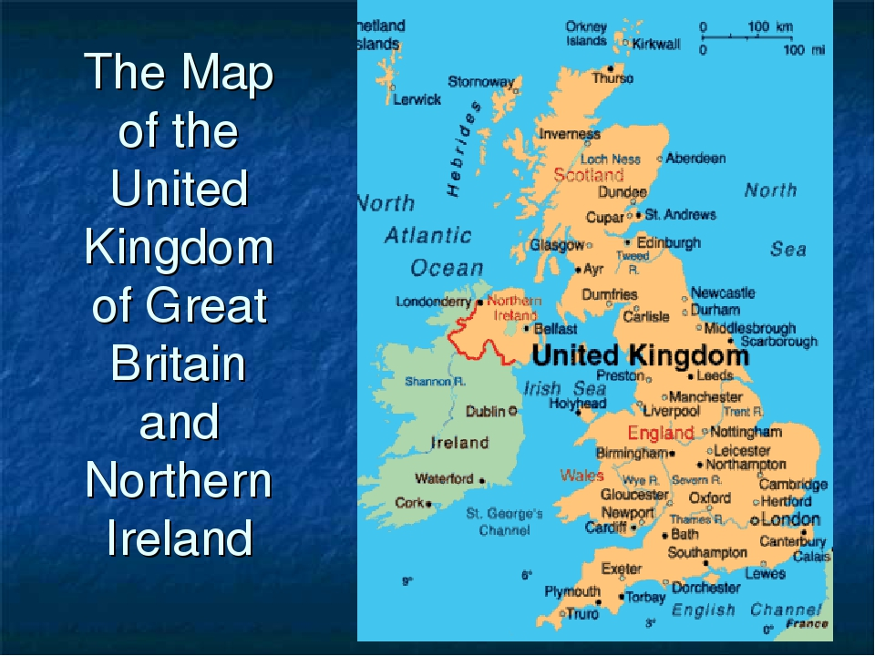 The Map of the United Kingdom of Great Britain and Northern Ireland
