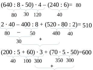 (640 : 8 - 50) ∙ 4 – (240 : 6)= 80 30 40 120 80 2 ∙ 40 – 400 : 8 + (520 - 80