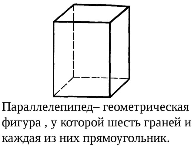 Параллелепипед– геометрическая фигура, у которой шесть граней и каждая из н...
