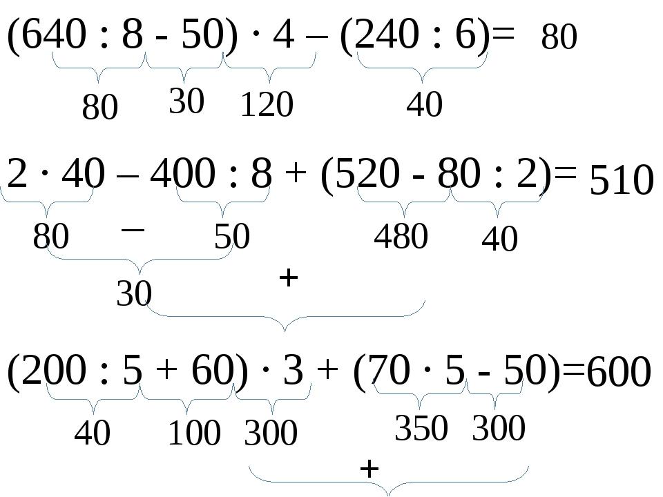 (640 : 8 - 50) ∙ 4 – (240 : 6)= 80 30 40 120 80 2 ∙ 40 – 400 : 8 + (520 - 80...