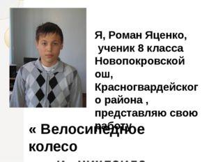 Я, Роман Яценко, ученик 8 класса Новопокровской ош, Красногвардейского района