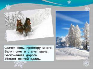 Скачет конь, простору много, Валит снег и стелет шаль. Бесконечная дорога Убе