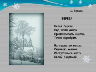 С. Есенин БЕРЁЗА Белая берёза Под моим окном Принакрылась снегом, Точно сере