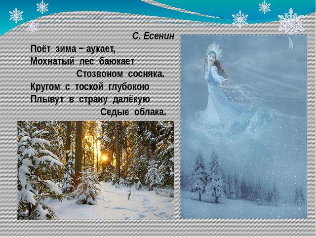 С. Есенин Поёт зима − аукает, Мохнатый лес баюкает Стозвоном сосняка. Кругом...