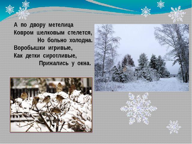 А по двору метелица Ковром шелковым стелется, Но больно холодна. Воробышки иг...