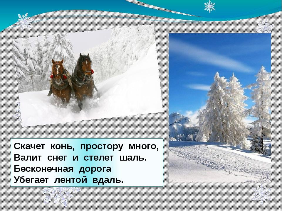 Скачет конь, простору много, Валит снег и стелет шаль. Бесконечная дорога Убе...