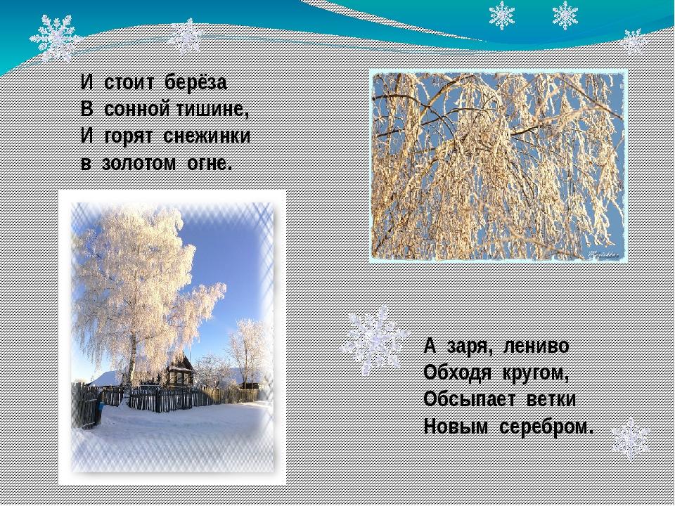 И стоит берёза В сонной тишине, И горят снежинки в золотом огне. А заря, лени...
