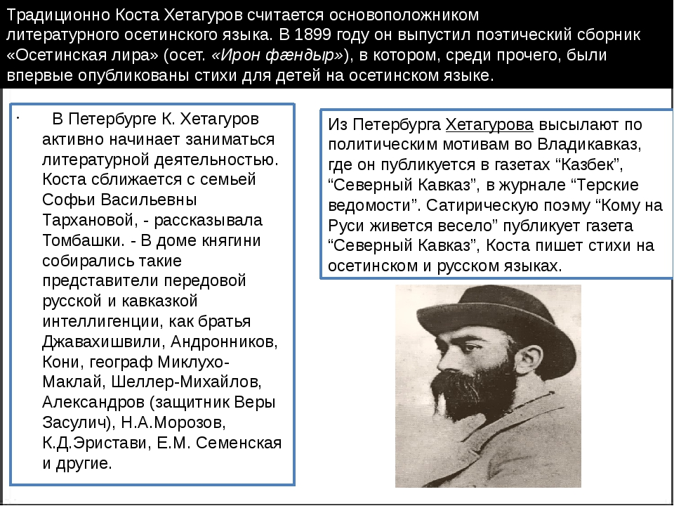 В Петербурге К. Хетагуров активно начинает заниматься литературной деятельн...