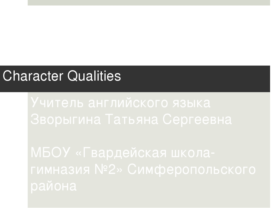 Character Qualities Учитель английского языка Зворыгина Татьяна Сергеевна МБО...