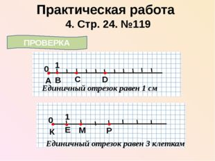 4. Стр. 24. №119 Практическая работа ПРОВЕРКА 0 1 А Единичный отрезок равен 1