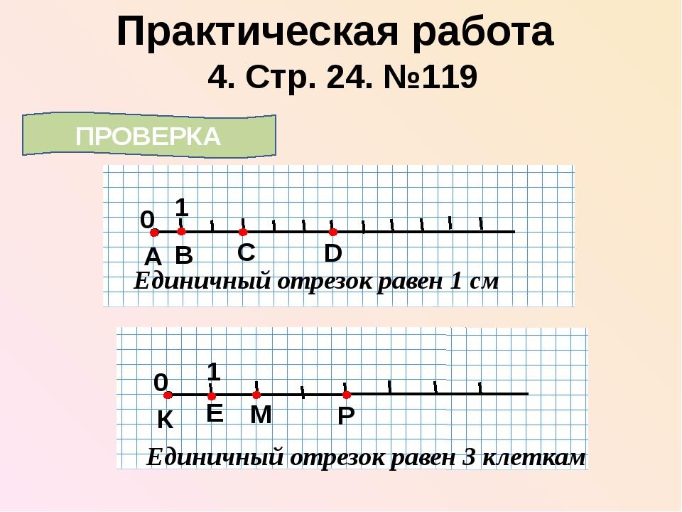 4. Стр. 24. №119 Практическая работа ПРОВЕРКА 0 1 А Единичный отрезок равен 1...