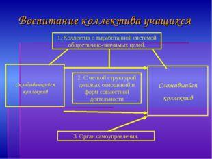 Воспитание коллектива учащихся 1. Коллектив с выработанной системой обществен