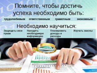 Помните, чтобы достичь успеха необходимо быть: Необходимо научиться: трудолюб