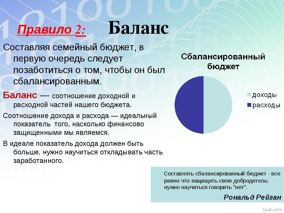 Правило 2: Баланс Составляя семейный бюджет, в первую очередь следует позабот...