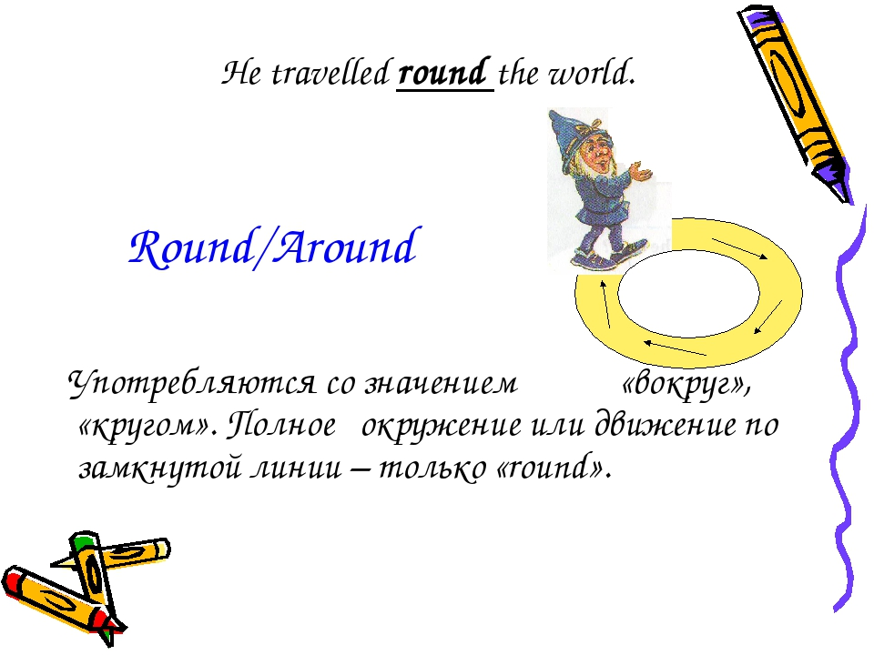 He travelled round the world. Употребляются со значением «вокруг», «кругом»....