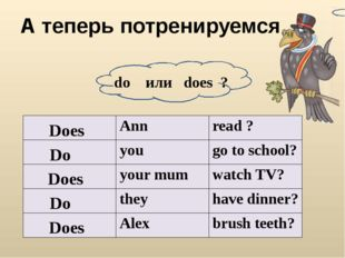 А теперь потренируемся do или does ? Does Do Does Do Does Ann read ? you go t