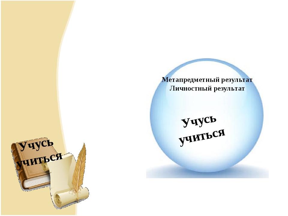 Метапредметный результат Метапредметный результат Личностный результат Учусь...