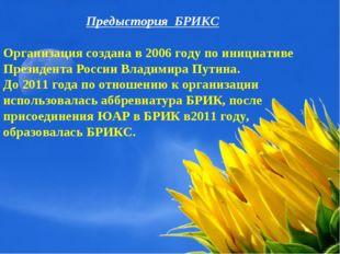 Предыстория БРИКС Организация создана в 2006 году по инициативе Президента Ро