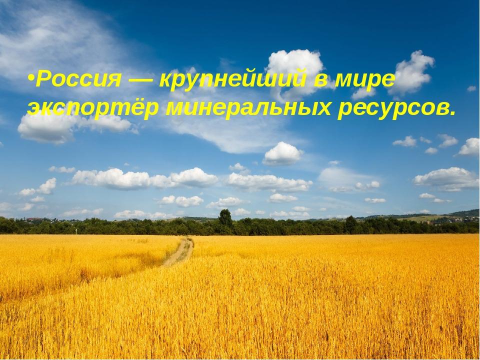 Россия— крупнейший в мире экспортёр минеральных ресурсов.