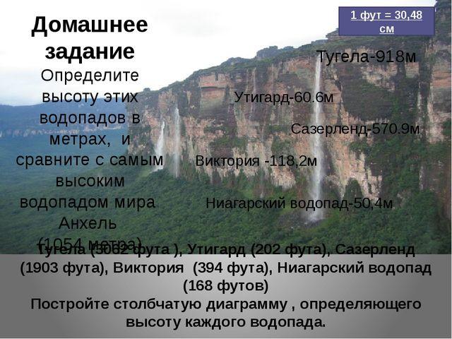 Домашнее задание Определите высоту этих водопадов в метрах, и сравните с самы...