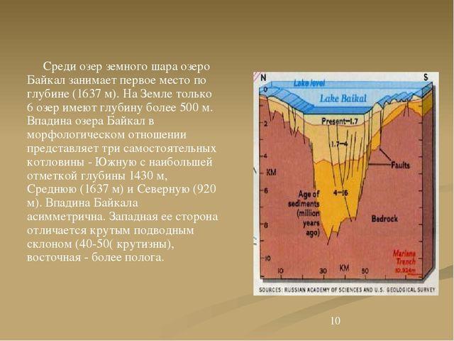 Среди озер земного шара озеро Байкал занимает первое место по глубине (1637...