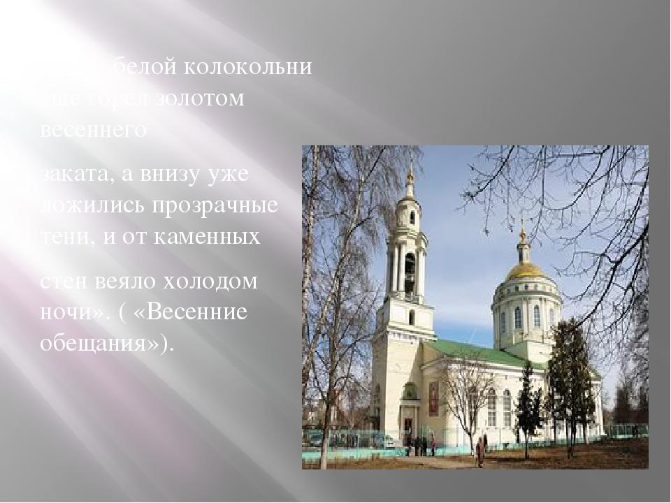 «Верх белой колокольни ещё горел золотом весеннего заката, а внизу уже ложил...