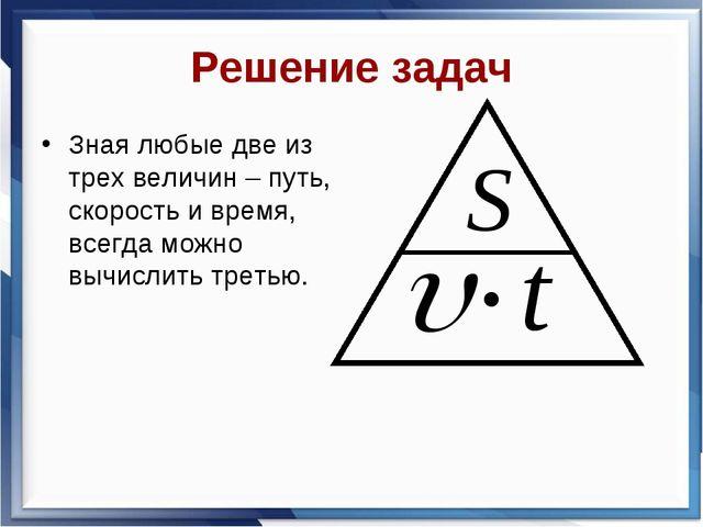 Решение задач Зная любые две из трех величин – путь, скорость и время, всегда...