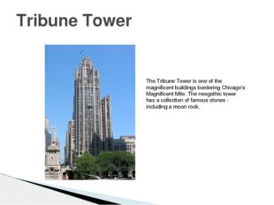 Tribune Tower The Tribune Tower is one of the magnificent buildings bordering