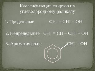 Классификация спиртов по углеводородному радикалу 1. Предельные CH₃ – CH₂ – O