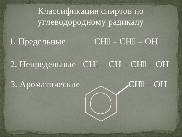 Классификация спиртов по углеводородному радикалу 1. Предельные CH₃ – CH₂ – O...