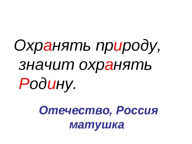 Отечество, Россия матушка Охранять природу, значит охранять Родину.