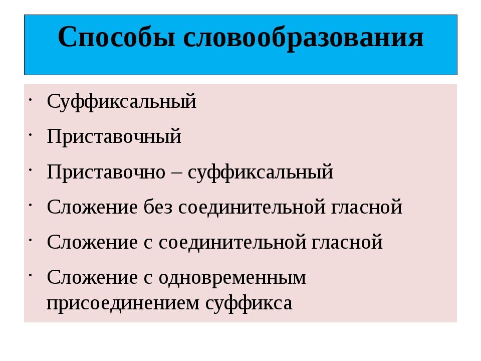 Способы словообразования Суффиксальный Приставочный Приставочно – суффиксальн...