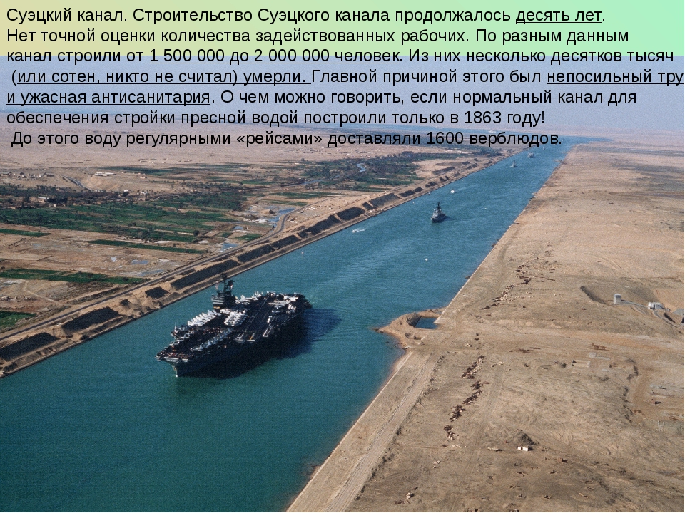 Суэцкий канал. Строительство Суэцкого канала продолжалось десять лет. Нет точ...
