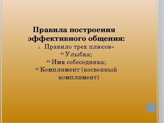Правила построения эффективного общения: Правило трех плюсов» Улыбка; Имя соб...
