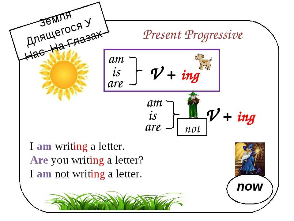 am is are V + ing Present Progressive am is are V + ing not I am writing a l...