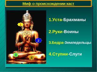 Миф о происхождении каст 1 2 3 4 1.Уста-Брахманы 2.Руки-Воины 3.Бедра-Земледе