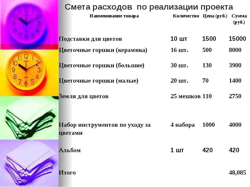 Смета расходов по реализации проекта Наименование товараКоличествоЦена (руб...