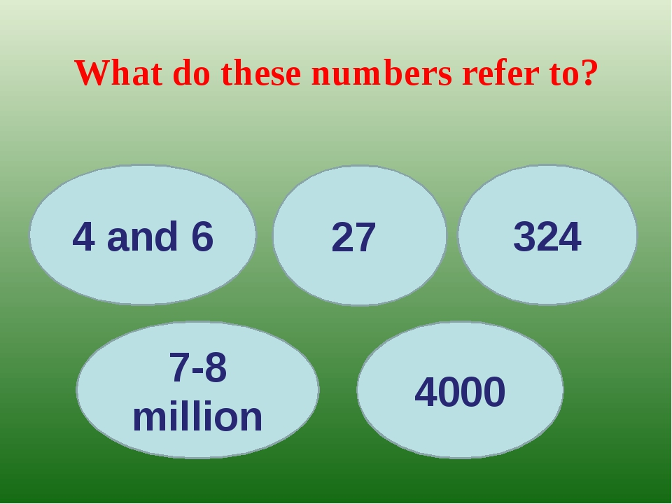 What do these numbers refer to? 4 and 6 27 4000 7-8 million 324