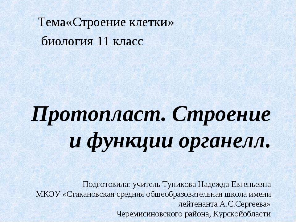 Протопласт. Строение и функции органелл. Подготовила: учитель Тупикова Надежд...