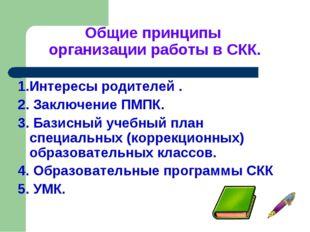 Общие принципы организации работы в СКК. 1.Интересы родителей . 2. Заключение