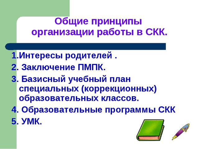 Общие принципы организации работы в СКК. 1.Интересы родителей . 2. Заключение...
