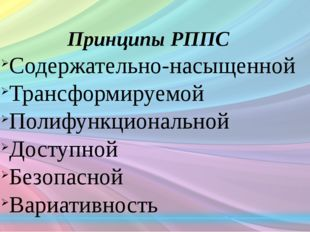 Принципы РППС Содержательно-насыщенной Трансформируемой Полифункциональной До